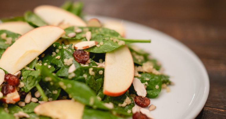 Nutty Quinoa Spinach & Apple Salad